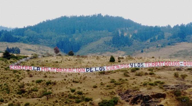 Acción contra la militarización de los cuerpos y territorios en Huitzizilapan México