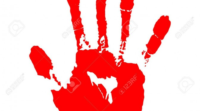 red hand print on white background vector illustration